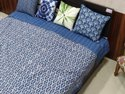 Meera's Handmade Indigo Block Printed Kantha Bedcover