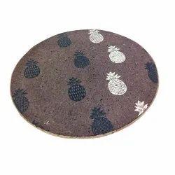 Happy handmade coffee brown pineapple printed place mat/trivet