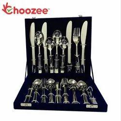 Choozee - 32-Pieces Designer Cutlery Set - 8 Dessert Spoons, 8 Dessert Forks, 8 Dessert Knifes & 8 B