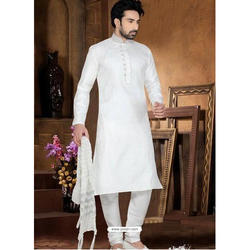 Men's Cotton White Full Sleeve Kurta