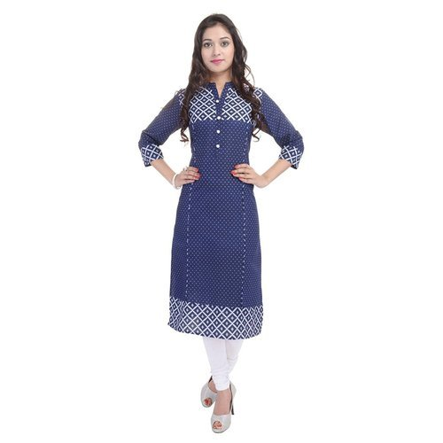 Ladies Cotton 3/4th Sleeve Printed Kurti, Size: S-L