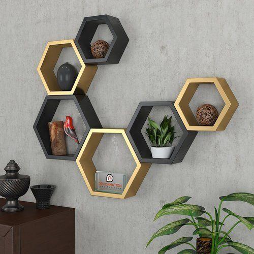 Decornation Set Of 6 Hexagon Shelves Golden Black Deewar Par