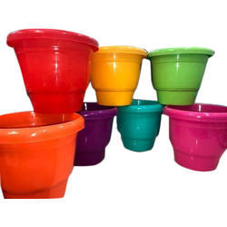 Green Round Plastic Planter