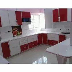 L Shape Aluminium Modular Kitchen, Kitchen Cabinets