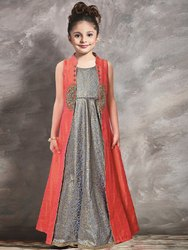 Silk Party Wear Designer Kids Heavy Gown