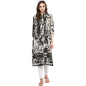 Cotton Black And White 3/4th Sleeve Printed Kurti, Size: S, M & L