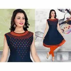 Anarkali Rayon Designer Kurti, Size: L-XXL