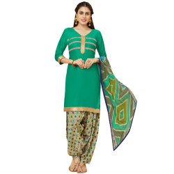 Green Colored Glace Cotton Unstitched Casual Wear Salwar Suit
