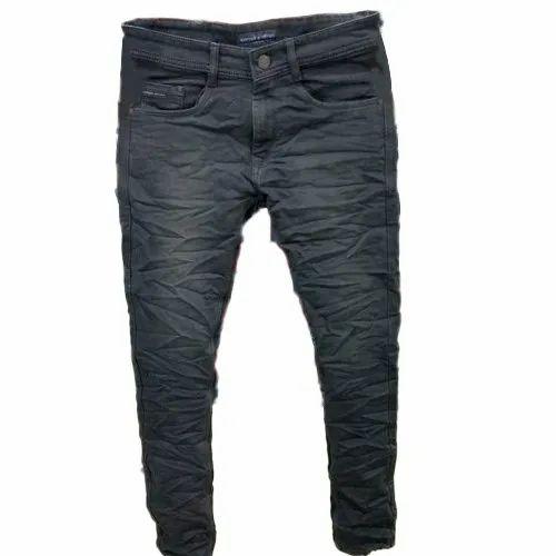 Stretchable Denim Mens Black Wrinkled Jeans