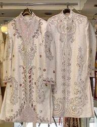 Men White Embroidery Shervani