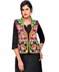 4aa5269cb6 Banjara India Dupion Silk M.Aari Mor-Kutchi Embroidered Designer Jacket,  Adult