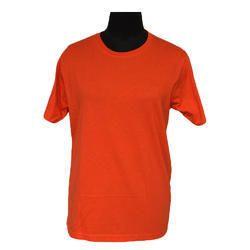 Casual Wear Half Sleeve Orange Round Neck Staff T-Shirt, Size: S-XL