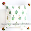 Cotton Party Type And Casual Type Off-white Cactus Cushion Cover With Intricate Handwork