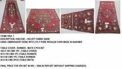 Velvet Hand Embroidered Table Cover Runner Mats 5 Pc Set