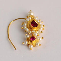 Agg Traditional Maharashtrian Pearl Nose Ring Rs 220 Pair