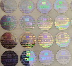 LABELSANDSTICKERS.IN Tested OK Silver Holograms