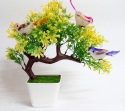 DecoratingLives Artificial Plants with Hanging Birds Guest Greeting Pine Bonsai Home Decoration