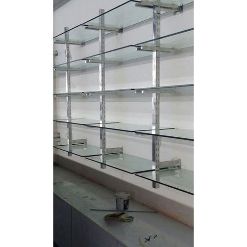 Stainless Steel And Glass Wall Mounted Storage Rack, For Supermarket And  Warehouse