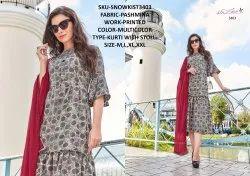 Rachna Twill Silk Pattern Cut Kurti With Stole Catalog Kurti For Women 3