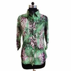 Full Sleeves Polyester Ladies Printed Casual Shirts