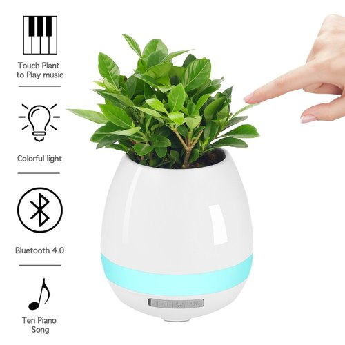 Music Flowerpot With Rechargeable Wireless Bluetooth Speaker And LED Night Light Without Plant