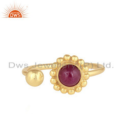 Flower Design Gold Plated 925 Silver Natural Ruby Gemstone Women's Rings