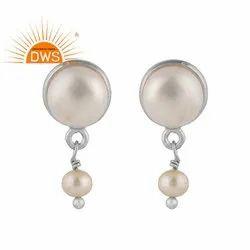 Fresh Water Pearl Drop 925 Silver Stud Earrings Jewelry