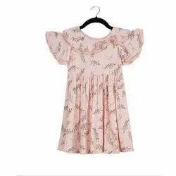 Cotton Blend Pink Kids Girls Floral Sleeveless Party Wear Dress