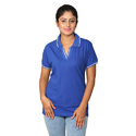 Blue And White Stripes Blue Striped Ladies Collar T Shirt