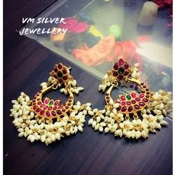 Ladies Silver Gold Plated Earrings