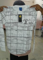 Men Printed White Cotton T-Shirt