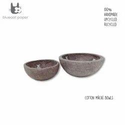 Handmade Paper Mache Light Mauve Bowls, White Fish Decal Print