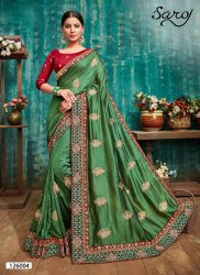 Green Color Fancy Vichitra Silk Saree