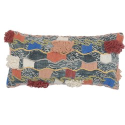 Decorative Embroidery Accent Multicolored Cotton Pillow Cover