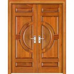 Exterior Hinged Teak Wood Double Door, Size: 8 X 4 Feet