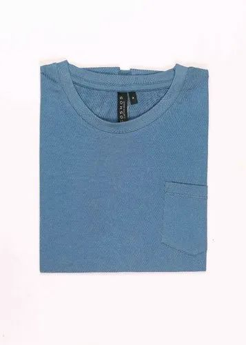 Half Sleeve Crew Neck T Shirt Airforce Blue Solid Colour Patch Pocket