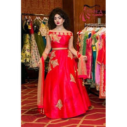 4d45c69627 Dupian Silk Embroidery Unstitched Bridal Lehenga