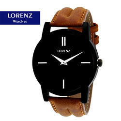 Men Lorenz Black Brown Wrist Watch