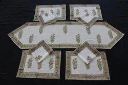 Block Printed Table Runner Mat Set