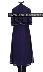 Navy Blue Foil Embroidered Suit