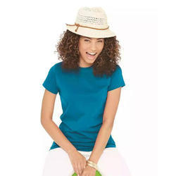 Ladies Cotton Half Sleeve Blue Fancy T Shirt