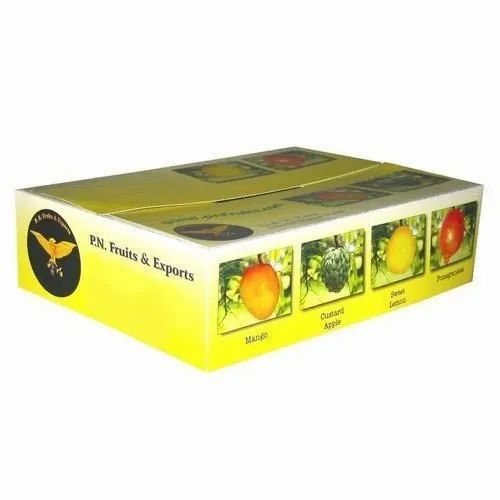 Cardboard Rectangle Disposable Multicolor Printed Fruit Corrugated Box, Capacity: 5 kg