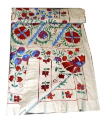Suzani Bedspread Antique Silk Uzbek Tablecloths Hand Embroidered Vintage Textile Suzani Curtain