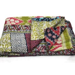 Indian Vintage Reversible Cotton Kantha Quilt Handmade Blanket Throw