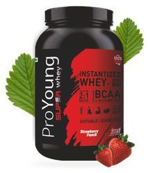 Organic Muscle Building Whey Protein Strawberry Proyoung, 0 - 1 Kg, Packaging Type: Plastic Container