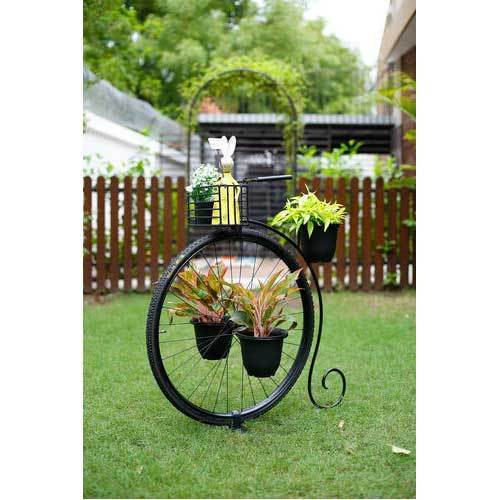 Classical Vintage Style 3 Pot Planter Holder Real Tired Iron Bicycle