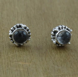 925 sterling silver unique jewelry black rutile gemstone stud earring