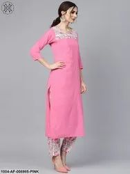 Nayo Solid 3/4th Sleeve Pink Kurta