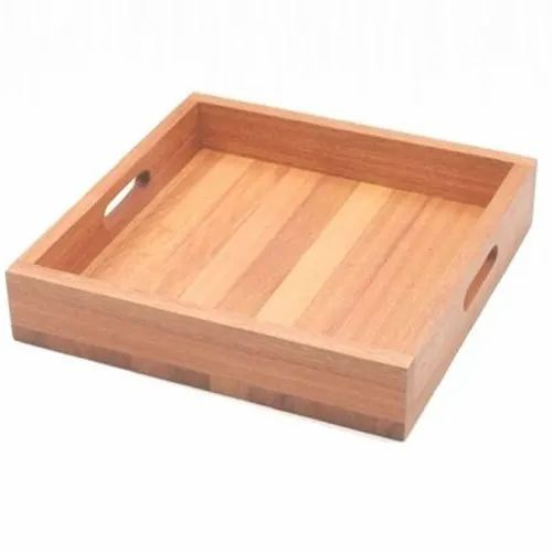 Rectangular Brown Square Wooden Tray