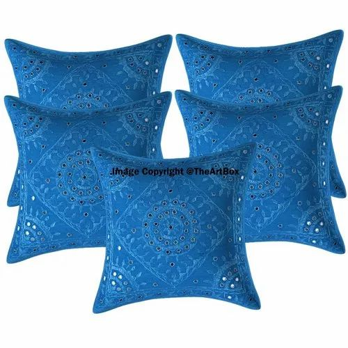 Turquoise Printed Mirror Embroidery Cushion Cover Throw Pillow Home Decor, Size: 16 X 16 Inch Approx